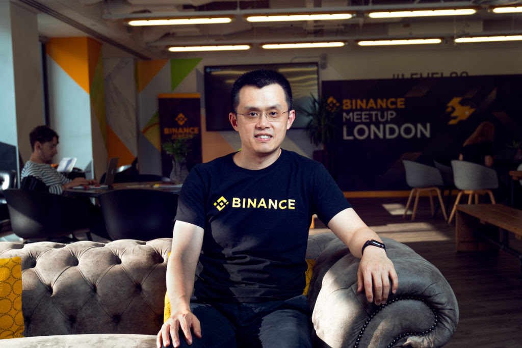 Binance CEO Changpeng Zhao ahead of the Binance London meetup in Canary Wharf